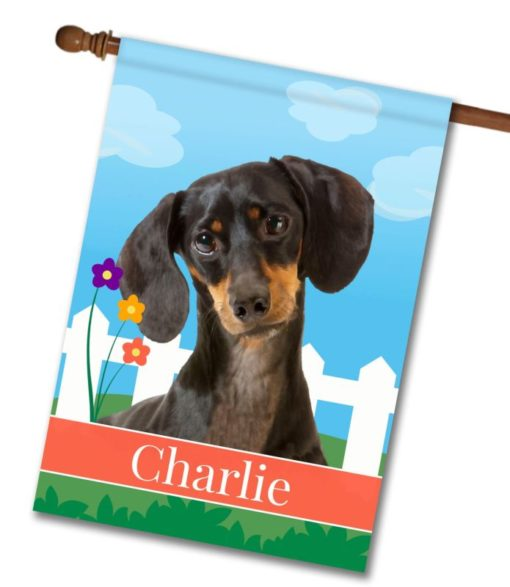 Personalized Spring Black Short Haired Dachshund - House Flag - 28'' x 40''