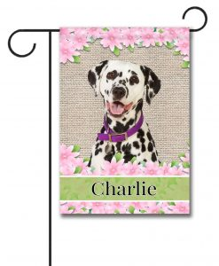 Personalized Spring Flowers Dalmatian - Garden Flag - 12.5'' x 18''