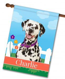 Personalized Spring Dalmation - House Flag - 28'' x 40''