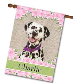 Personalized Spring Flowers Dalmatian - House Flag - 28'' x 40''
