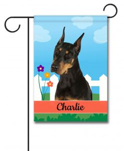 Personalized Spring Doberman - Garden Flag - 12.5'' x 18''