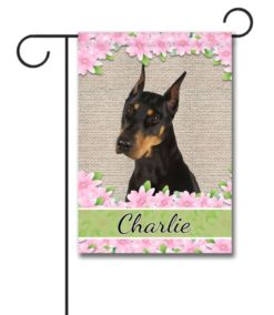 Personalized Spring Flowers Doberman - Garden Flag - 12.5'' x 18''