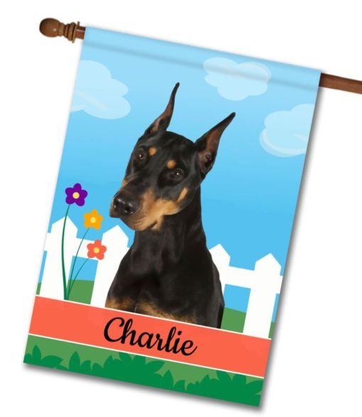 Personalized Spring Doberman - House Flag - 28'' x 40''