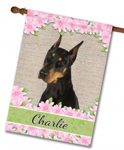 Personalized Spring Flowers Doberman - House Flag - 28'' x 40''