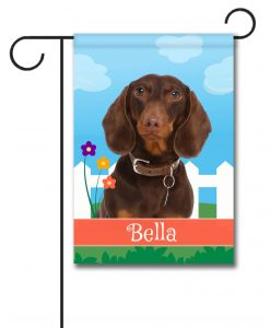 Personalized Spring Brown Short Haried Dachshund - Garden Flag - 12.5'' x 18''