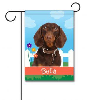 Personalized Spring Brown Short Haried Dachshund - Garden Flag - 12.5'' x 18''