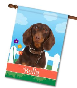 Personalized Spring Brown Short Haired Dachshund - House Flag - 28'' x 40''