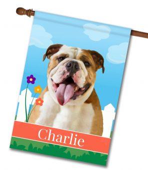Personalized Spring English Bulldog - House Flag - 28'' x 40''