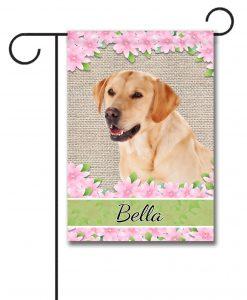 Personalized Spring Flowers Yellow Labrador Retriever - Garden Flag - 12.5'' x 18''