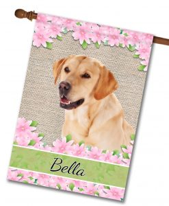 Personalized Spring Flowers Yellow Labrador Retriever - House Flag - 28'' x 40''