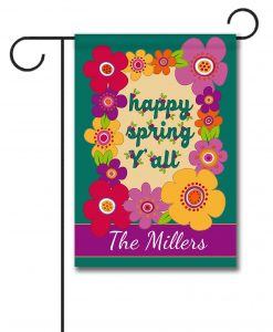 Personalized Happy Spring Y'all  - Garden Flag - 12.5'' x 18''