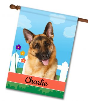 Personalized Spring German Shepherd - House Flag - 28'' x 40''