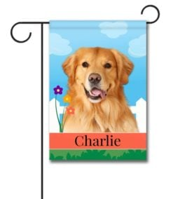 Personalized Spring Golden Retriever - Garden Flag - 12.5'' x 18''