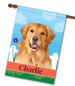 Personalized Spring Golden Retriever - House Flag - 28'' x 40''