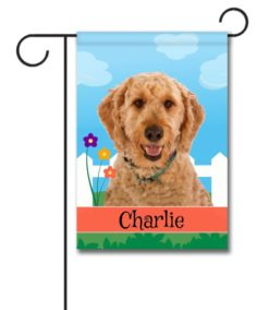 Personalized Spring Goldendoodle - Garden Flag - 12.5'' x 18''