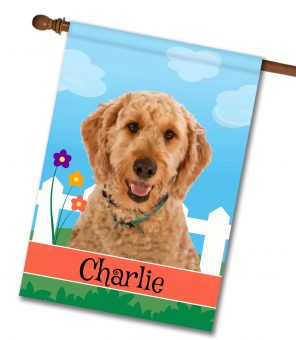 Personalized Spring Goldendoodle - House Flag - 28'' x 40''
