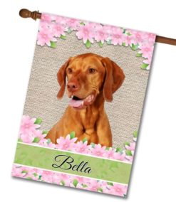 Personalized Spring Flowers Happy Vizsla - House Flag - 28'' x 40''