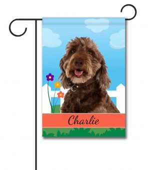 Personalized Spring Labradoodle - Garden Flag - 12.5'' x 18''