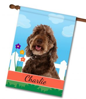 Personalized Spring Labradoodle - House Flag - 28'' x 40''