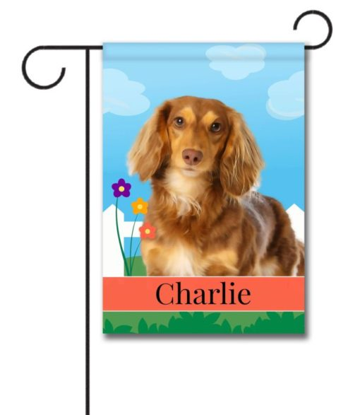 Personalized Spring Brown Long Haried Dachshund - Garden Flag - 12.5'' x 18''