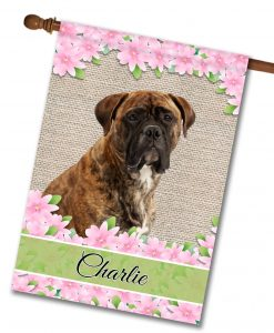 Personalized Spring Flowers Mastiff - House Flag - 28'' x 40''