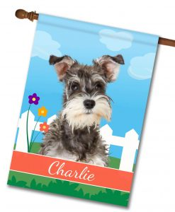 Personalized Spring Miniature Schnauzer - House Flag - 28'' x 40''