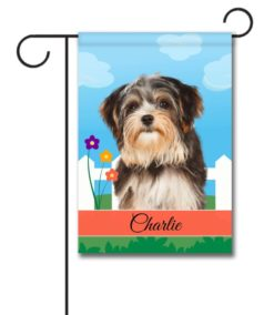 Personalized Spring Morkie - Garden Flag - 12.5'' x 18''