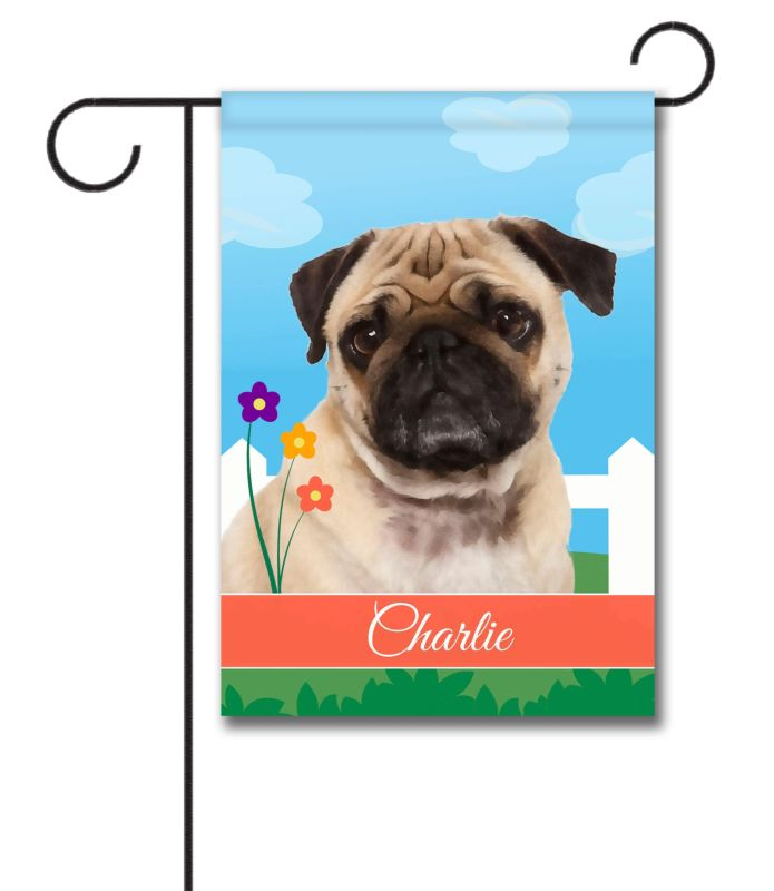 Personalized Spring Pug Garden Flag 12 5 X 18