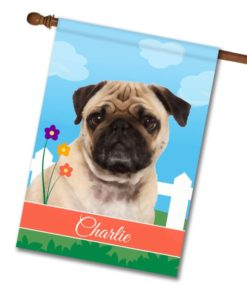 Personalized Spring Pug - House Flag - 28'' x 40''