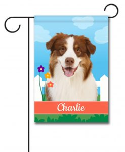 Personalized Spring Red Australian Shepherd - Garden Flag - 12.5'' x 18''