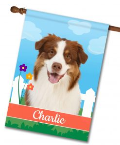Personalized Spring Red Australian Shepherd - House Flag - 28'' x 40''