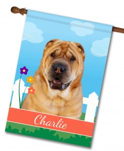 Personalized Spring Shar Pei - House Flag - 28'' x 40''