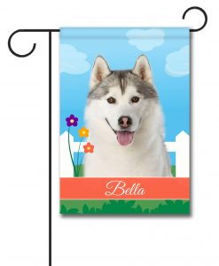 Personalized Spring Siberian Husky - Garden Flag - 12.5'' x 18''
