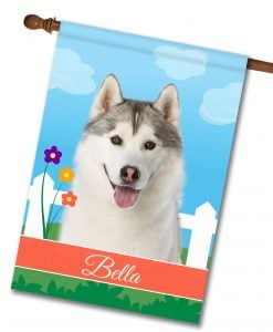 Personalized Spring Siberian Husky - House Flag - 28'' x 40''