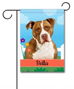 Personalized Spring Tan and White American Staffordshire Terrier II - Garden Flag - 12.5'' x 18''