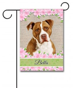 Personalized Spring Flowers Tan and White American Staffordshire Terrier - Garden Flag - 12.5'' x 18''