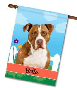Personalized Spring Tan and White American Staffordshire Terrier II - House Flag - 28'' x 40''