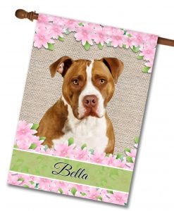 Personalized Spring Flowers Tan and White American Staffordshire Terrier - House Flag - 28'' x 40''