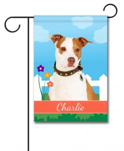 Personalized Spring Tan and White Amstaff - Garden Flag - 12.5'' x 18''