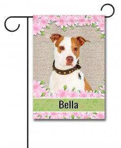 Personalized Spring Flowers Tan and White Amstaff - Garden Flag - 12.5'' x 18''