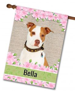 Personalized Spring Flowers Tan and White Amstaff - House Flag - 28'' x 40''
