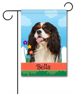 Personalized Spring Tri Colored Cavalier King Charles Spaniel - Garden Flag - 12.5'' x 18''