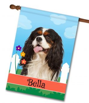 Personalized Spring Tri Colored Cavalier King Charles Spaniel - House Flag - 28'' x 40''