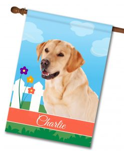 Personalized Spring Yellow Labrador Retriever - House Flag - 28'' x 40''