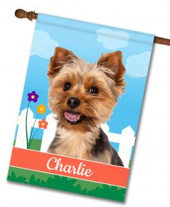 Personalized Spring Yorkie - House Flag - 28'' x 40''