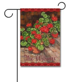 Personalized Welcome Geraniums  - Garden Flag - 12.5'' x 18''