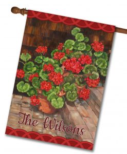 Personalized Welcome Geraniums - House Flag - 28'' x 40''