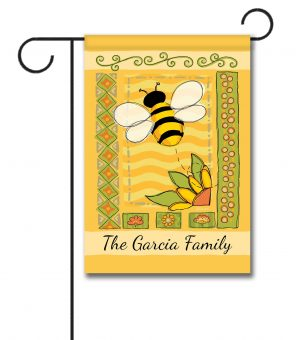Personalized Springtime Bee  - Garden Flag - 12.5'' x 18''