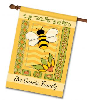 Personalized Springtime Bee - House Flag - 28'' x 40''
