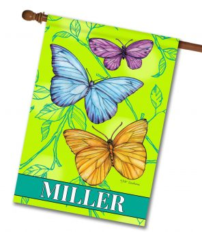 Personalized Butterflies - House Flag - 28'' x 40''